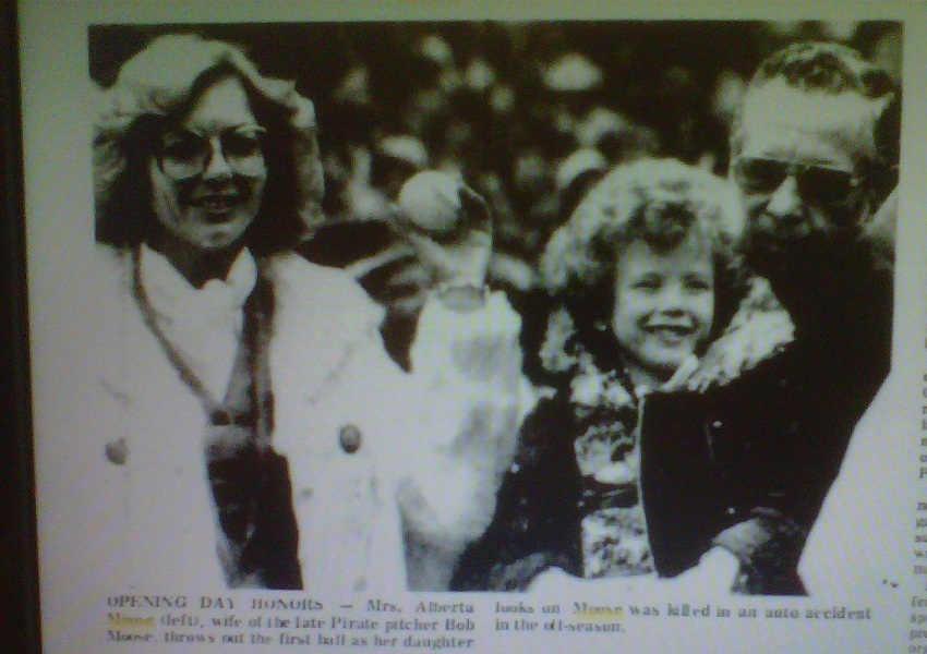 Alberta Moose throws out first pitch of 1977 season as April and Bob Sr look on