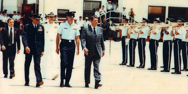 President Reagan reviewing the troops at Kelly AFB in 1983 (SAIC Robert DeProspero, far left)