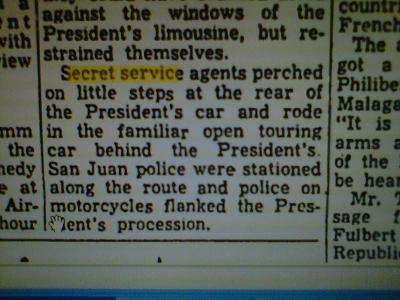 "11/16/61 ""Toledo Blade"" re: JFK's Puerto Rico trip"