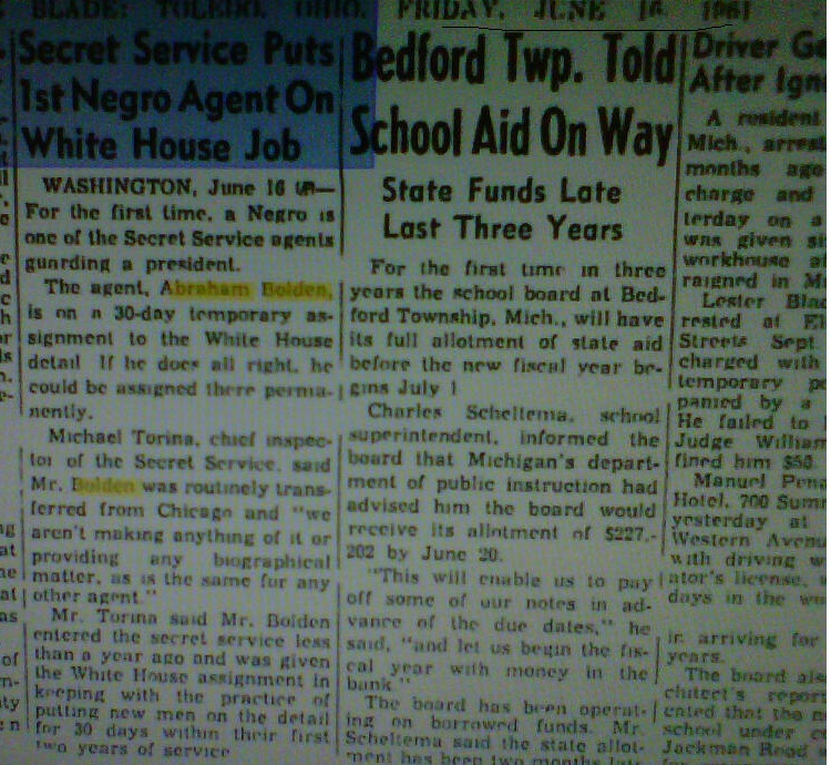 """The Toledo Blade"" Friday 6/16/61: VERY RARE FIND PROVING ABRAHAM BOLDEN WAS INDEED THE 1RST"